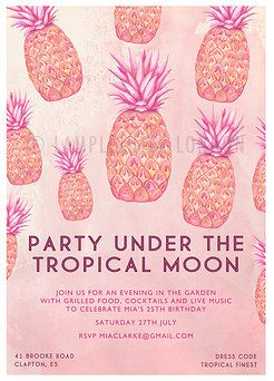 Custom Pineapple Tropical Party Invitations by Lamplighter London