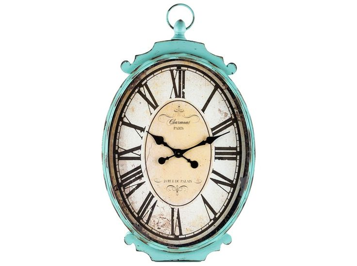Large Antique Turquoise Metal Oval Wall Clock New House