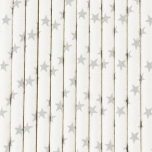 pailles en papier blanches avec etoiles colorées