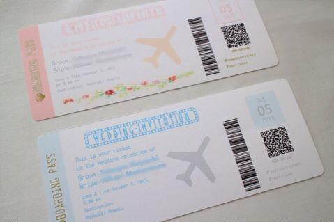 来年、結婚式を挙げます。(決定):boarding pass風招待状