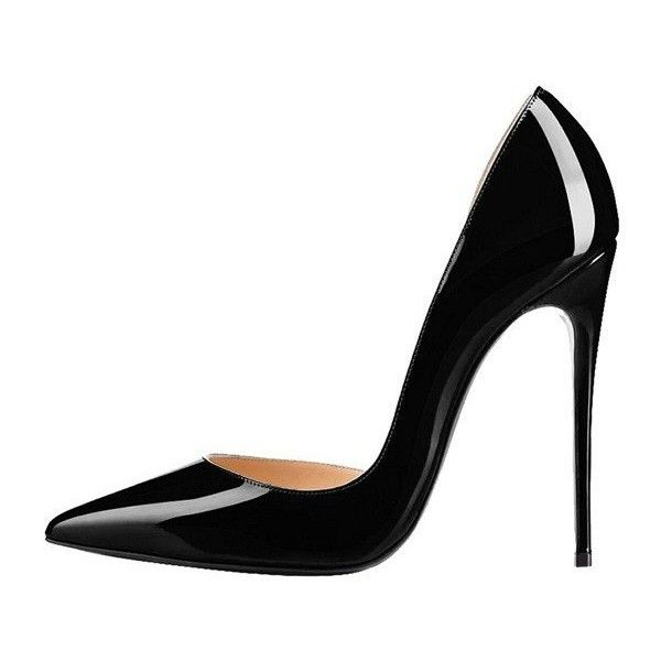 Black Office Heels Patent Leather Pointy Toe Stiletto Heels Pumps ($55) ❤ liked on Polyvore featuring shoes, pumps, black patent shoes, black pointy-toe pumps, black stilettos, pointed toe stilettos and high heel stilettos