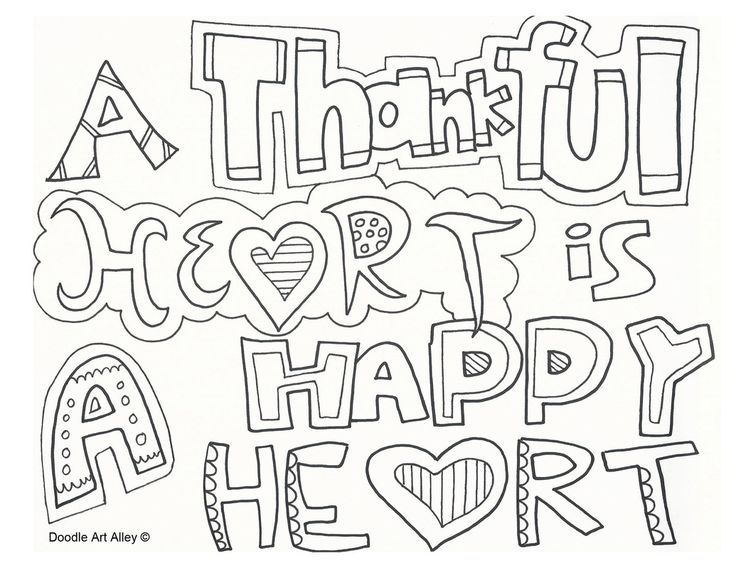 Thankful Heart Is A Happy Heart Religious Doodles Thankful Coloring Pages