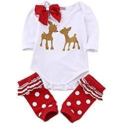 Infant Baby Girl Christmas Clothes Set Bowknot Deer Bodysuit Red Leg Warmer Outfits 6-12M/Tag 70