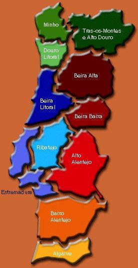 Mapa das regiões de Portugal,  também chamadas de províncias Portuguesas