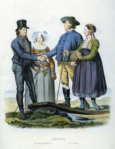 Folkdräkter från Vemmenhög härad och Torna härad, Skåne, Sverige. Plansch ur Svenska folkets seder, bruk och klädedrägter (1863) tecknad av Carl Anders Dahlström.