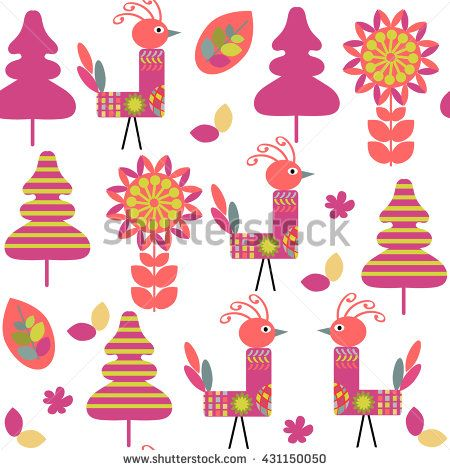 Odd birds seamless kids pattern and seamless pattern in swatch menu, vector illustration - stock vector