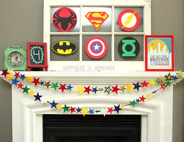 Felt Star Garland Banner for Superhero Party by Hi Homemade Blog using Sizzix Big Shot.