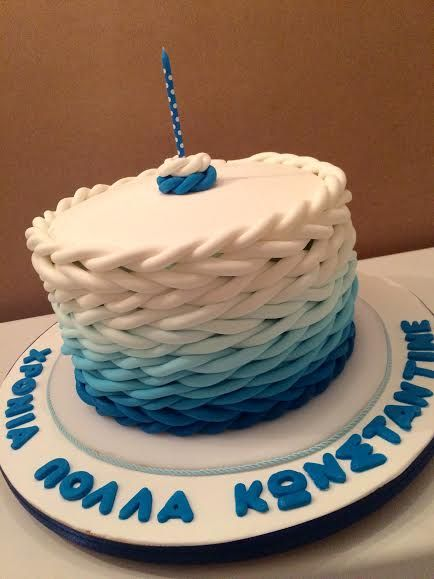 Ombre Blue Naval Rope Cake with surprise rainbow cake interior