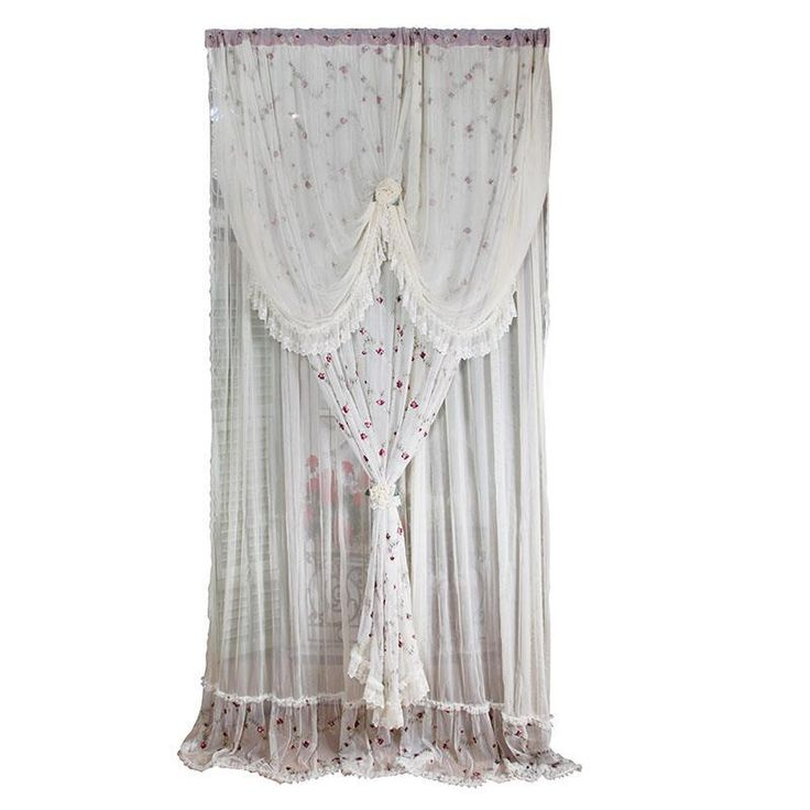 Fabric cream curtain with pink emroidery rose