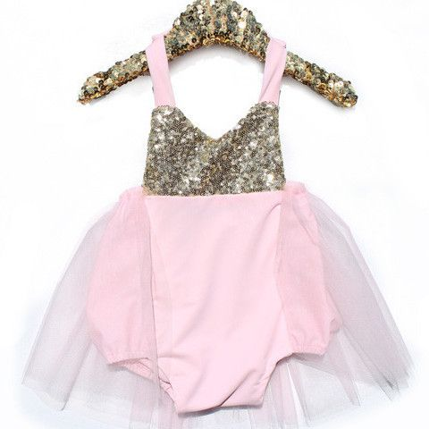 These are beautiful rompers for babies, toddlers and preschoolers. The sequin top is a halter. The neck ties help you adjust to the desired length. It is lin