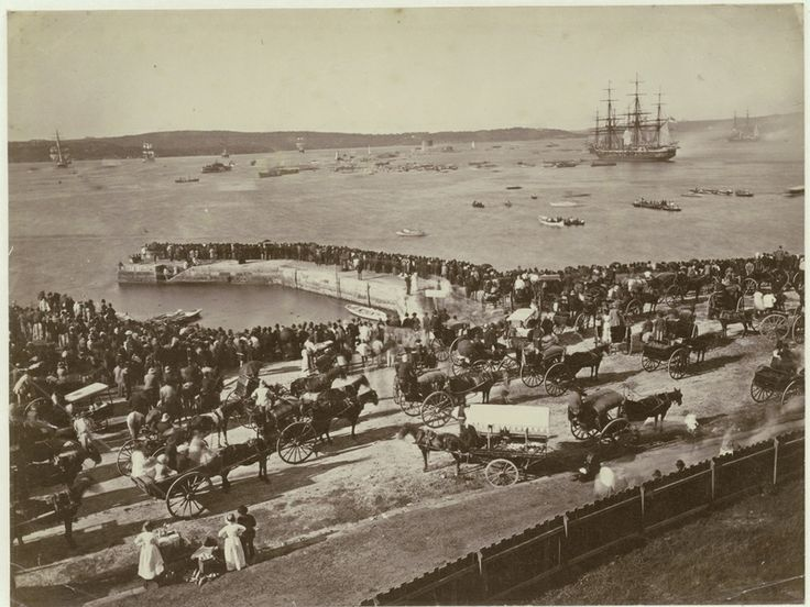 Crowds flock to watch a sham naval fight involving the Detached Squadron, Sydney, 13 April 1881. Mitchell Library, State Library of New South Wales: http://www.acmssearch.sl.nsw.gov.au/search/itemDetailPaged.cgi?itemID=420814