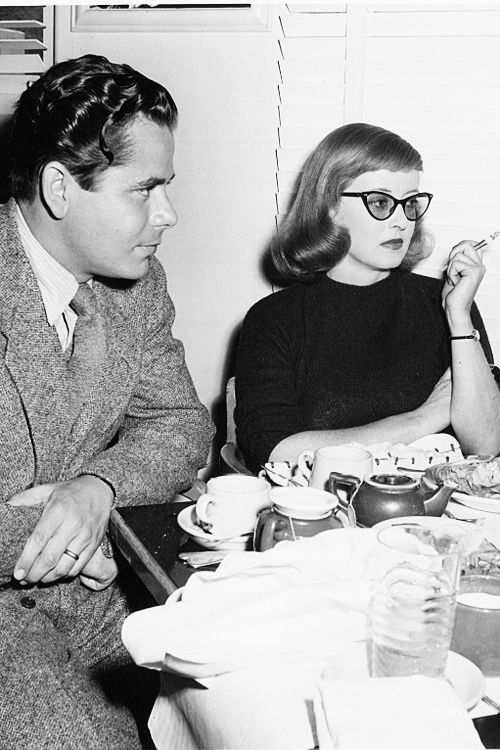 Glenn Ford and Bette Davis on a lunch break from filming A Stolen Life, 1946.