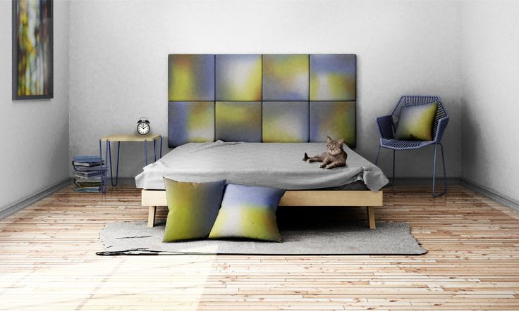 Headboard - upholstered modular wall panels OMBRE No. 2001 Gold & Serenity by DesignPolski on Etsy