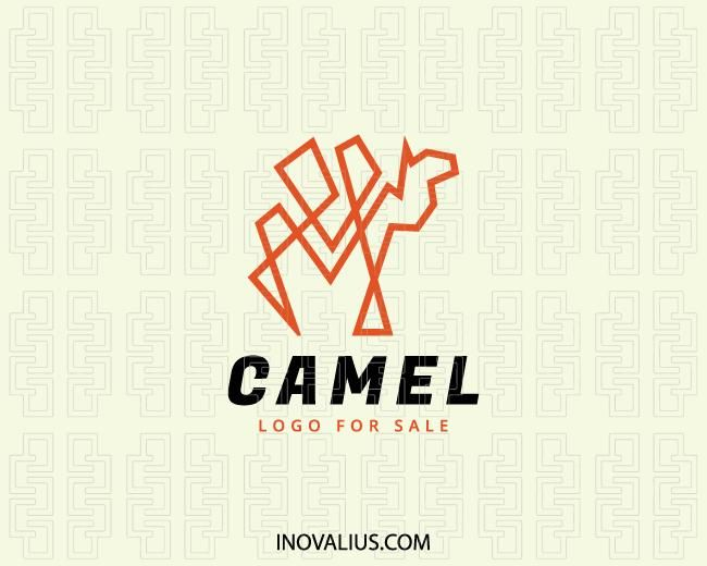 04eb68a2111 Simple logo design for sale composed of a continuous line forming a camel  with black and orange colors.(camel,mascot,guide,desert,animal,lines,tourism  ...