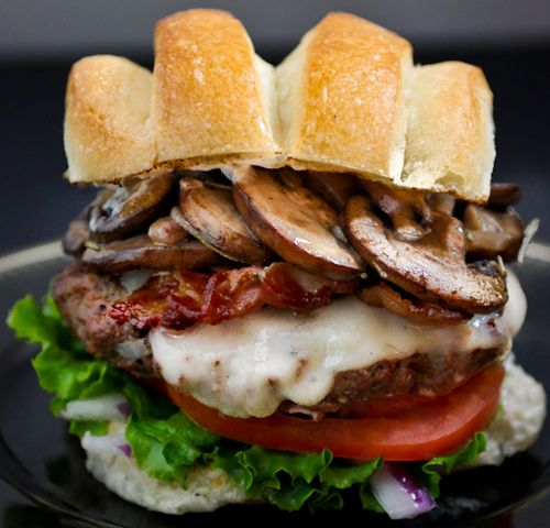 mushroom, bacon, swiss burger  and link to other gourmet burgers at home!!  yum!!