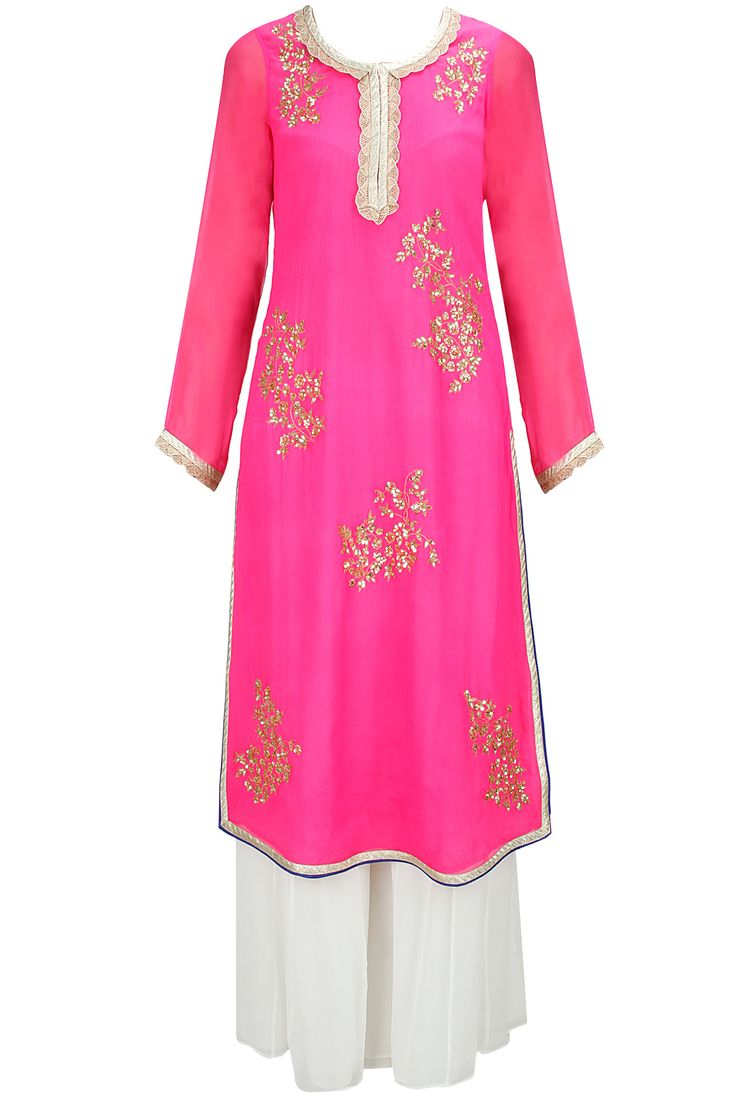 Bright pink embroidered anarkali set with white sharara pants available only at Pernia's Pop-Up Shop.
