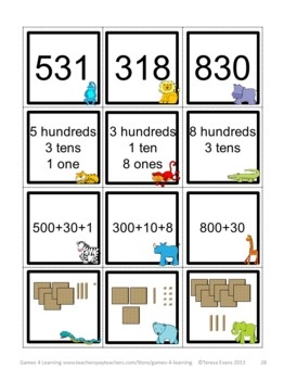 Place Value Matching Game for 3 Digit Numbers by Games 4 Learning This is a set of 15 printable Place Value Games for 3 Digit Numbers. $