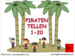 Digibordles: Piraten tellen 1 tot 20. Je telt de piraten op het eiland en klikt op het goede cijfer. Tevens tel je de kanonskogels die afgevuurd worden op digibordonderbouw.nl http://digibordonderbouw.nl/index.php/themas/piraten/piraten/viewcategory/366