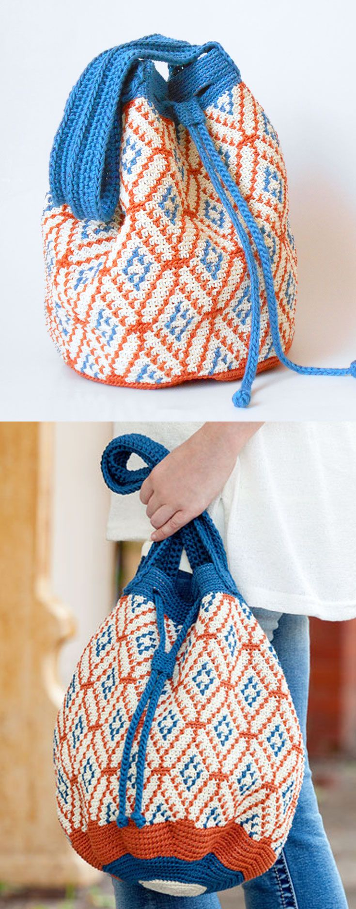 Spanish Tile Bag, in Learn to Tapestry Crochet book that includes basic steps on how to carry and wrap yarn, change colors, step-by-step photos, written instructions and charts. A great learn-to book! Also included are 6 projects perfect for a beginner.