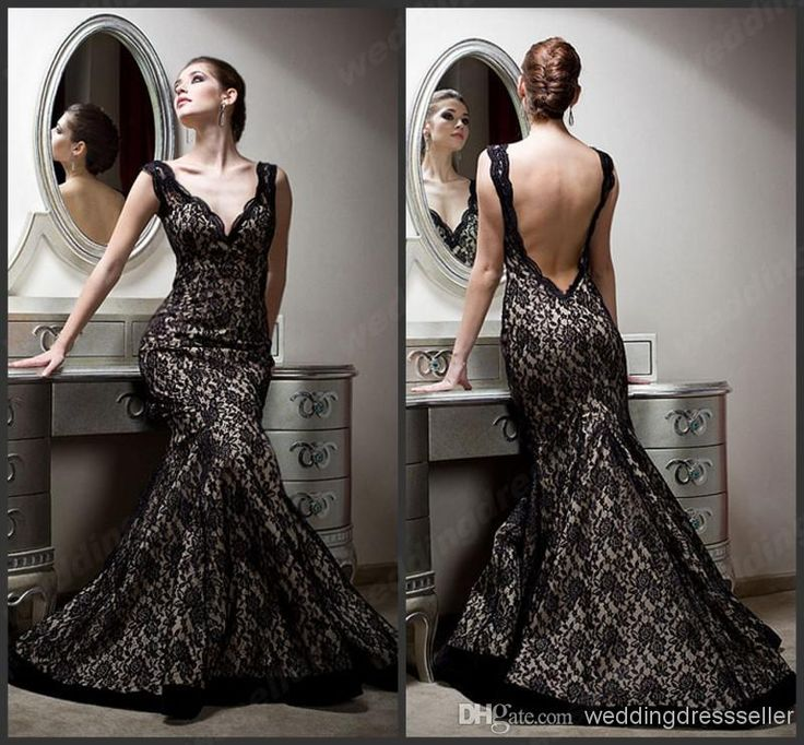 Cheap Elegant Evening Dress - Discount Vintage Deep V Neck Mermaid Lace Floor Length Online with $179