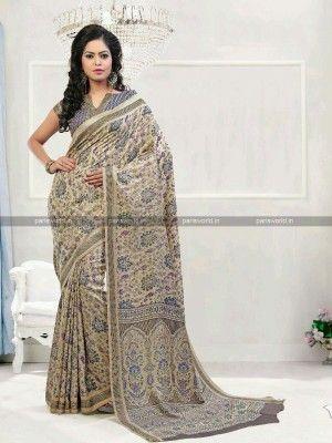 Beige N Blue Pashmina Casual Printed Saree