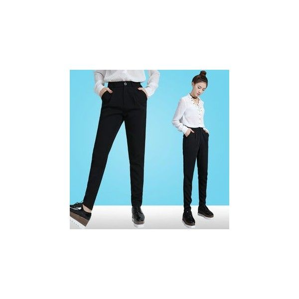 Tapered Pants (71 SAR) ❤ liked on Polyvore featuring pants, women, tapered trousers, blue trousers, silk trousers, taper cut pants and tapered fit pants