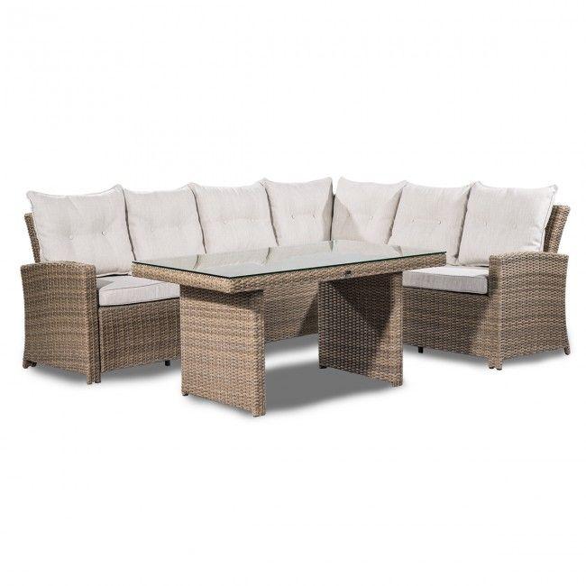 nassau hjrnesofa 33hjrne og bord natural brun nassaugarden furniture