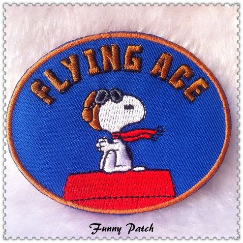 Flying Ace Aviator Snoopy Iron on Patch 62-H by FunnyPatch on Etsy