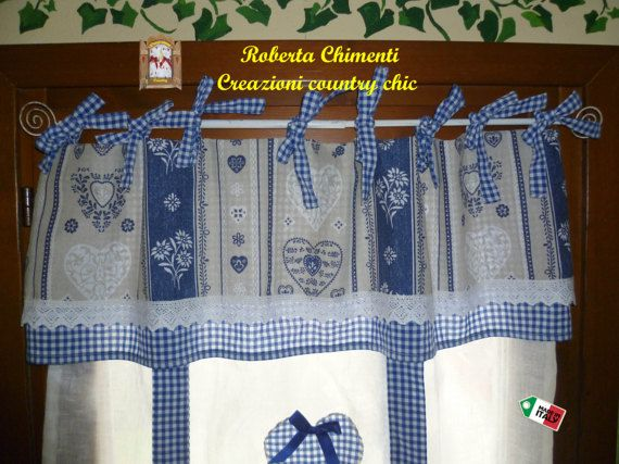 Shabby-chic curtain country linen curtain with valance