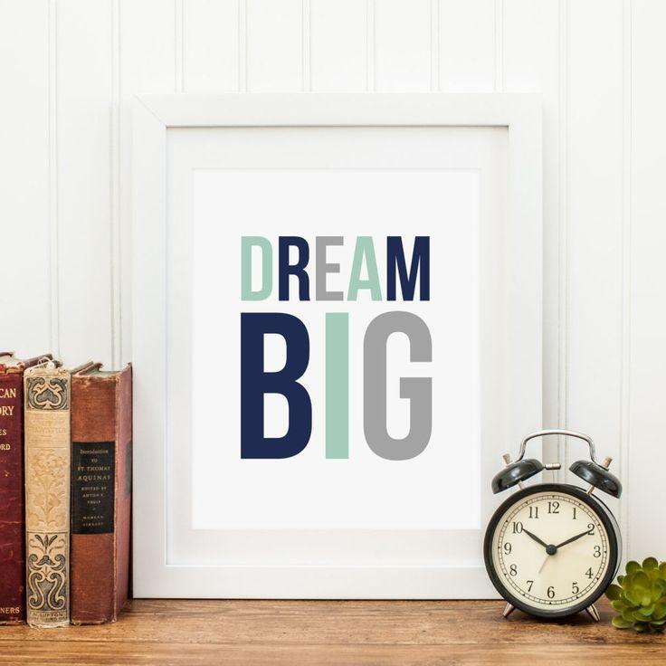 Vintage Dream Big Printable x x x Dream Big Nursery Decor Navy Mint Gray Nursery Wall Art