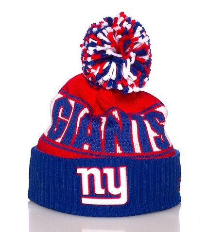 NEW ERA New York Giants NFL winter beanie Football Pom pom on top Embroidered team logo on brim Stretch for comfort