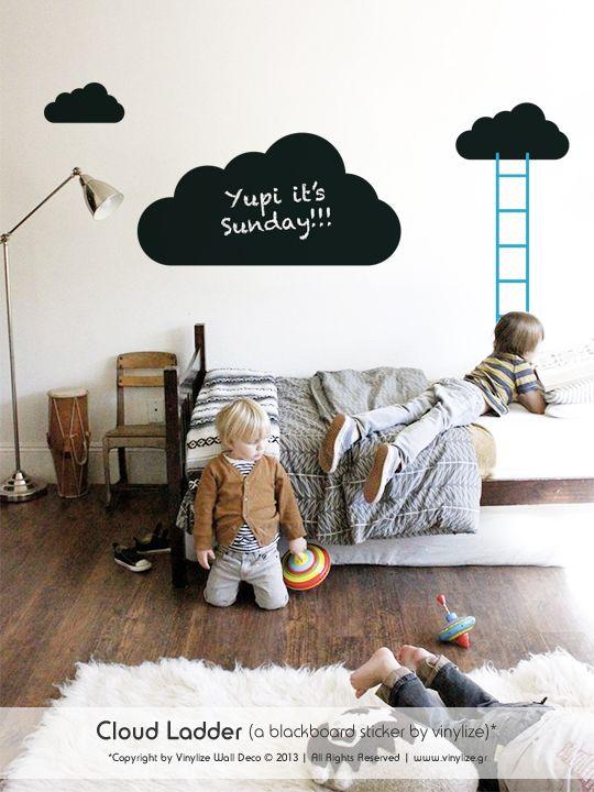 Blackboard Cloud Ladder - Wall Sticker | Vinylize Wall Deco