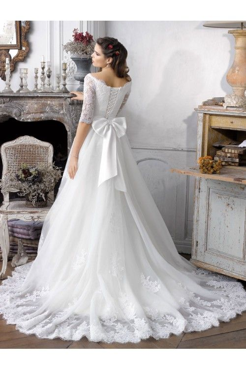 Fabulous Scalloped edge Half Appliqued Sleeves With Corset Back Court Train Beach Wedding Dresses