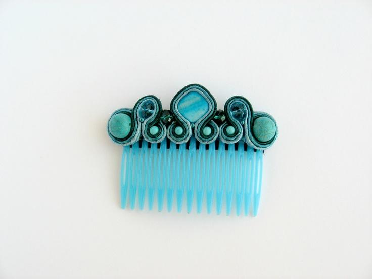 Handmade embroidery soutache hair accessory comb.Bead embroidery.Soutache jewelry.Soutache embroidery.Gift under 30.. $23,00, via Etsy.