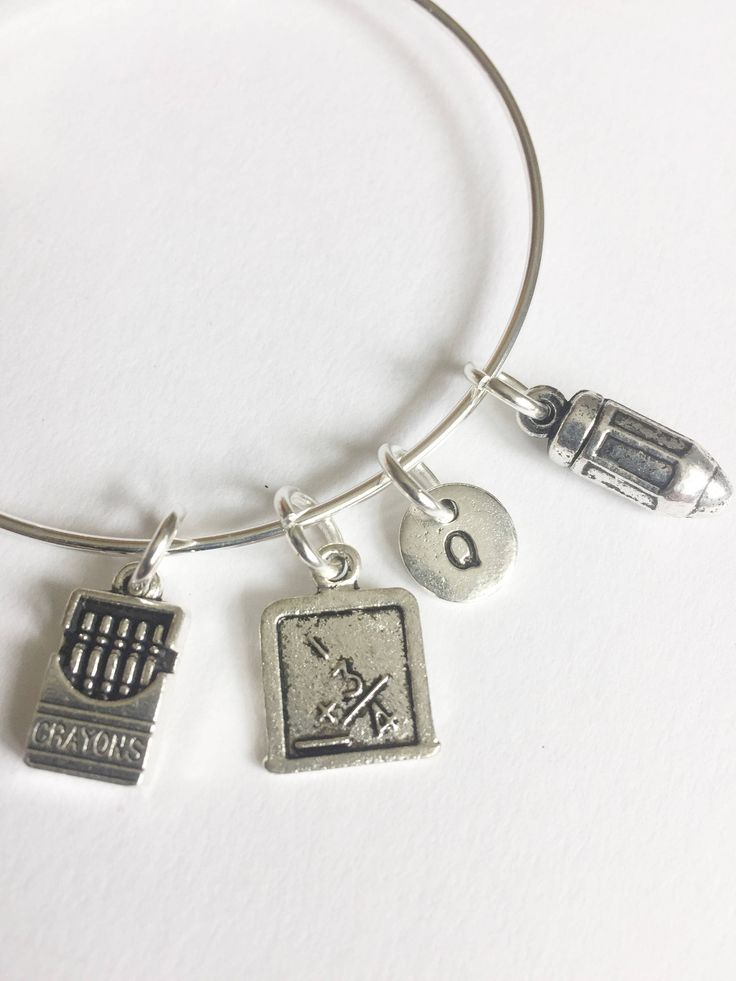 Teacher Charm Bangle, Gift for Teacher, School Bracelet, Student, Thank you gift, Teachers Gift, Special Gift, School Charms, Back to School https://www.etsy.com/listing/534068523/teacher-charm-bangle-gift-for-teacher?utm_campaign=crowdfire&utm_content=crowdfire&utm_medium=social&utm_source=pinterest