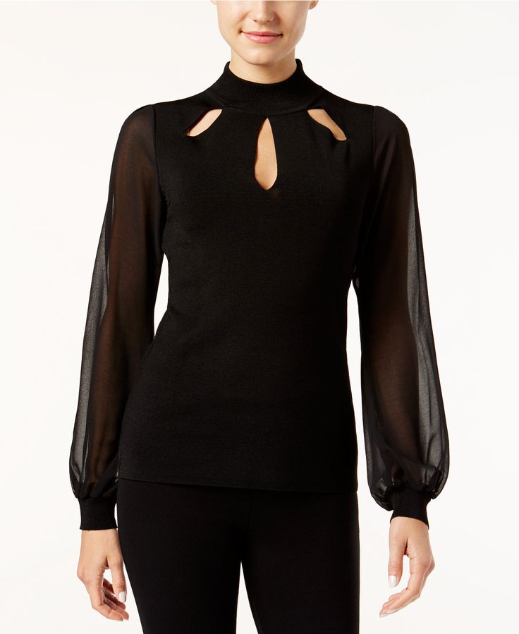 INC International Concepts Petite Illusion-Sleeve Cutout Top, Only at Macy's - INC International Concepts - Women - Macy's