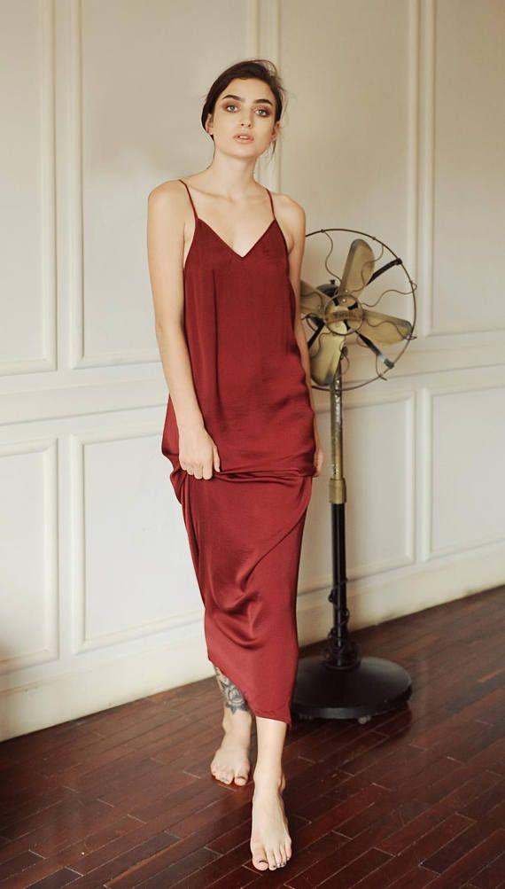 1118ab1eefd Sexyback silk slip low back wine burgundy silk dress sleepwear ...
