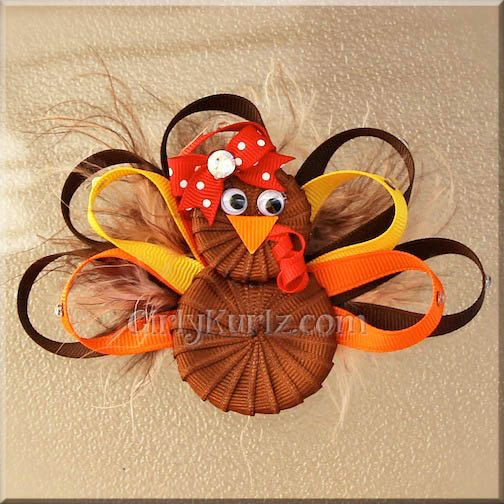 Thanksgiving Turkey Hair Bow Turkey Ribbon Sculpture by GirlyKurlz,