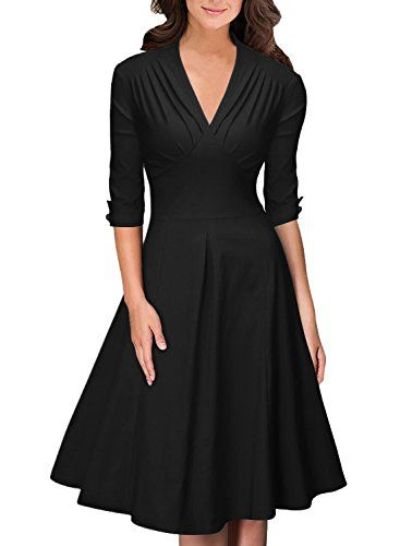 This is a feminine vintage style dress with half sleeves and a waistline that will make any figure look amazing. This dress has a long length skirt, and a beautiful v-neck neckline. See it here: http://www.crossdressboutique.com/info/retro-deep-v-neck-half-sleeve-vintage-swing-dress-various-colors/
