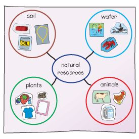 Natural Resources activity, this would be a good way to have students start thinking about how much around them comes from natural resources.