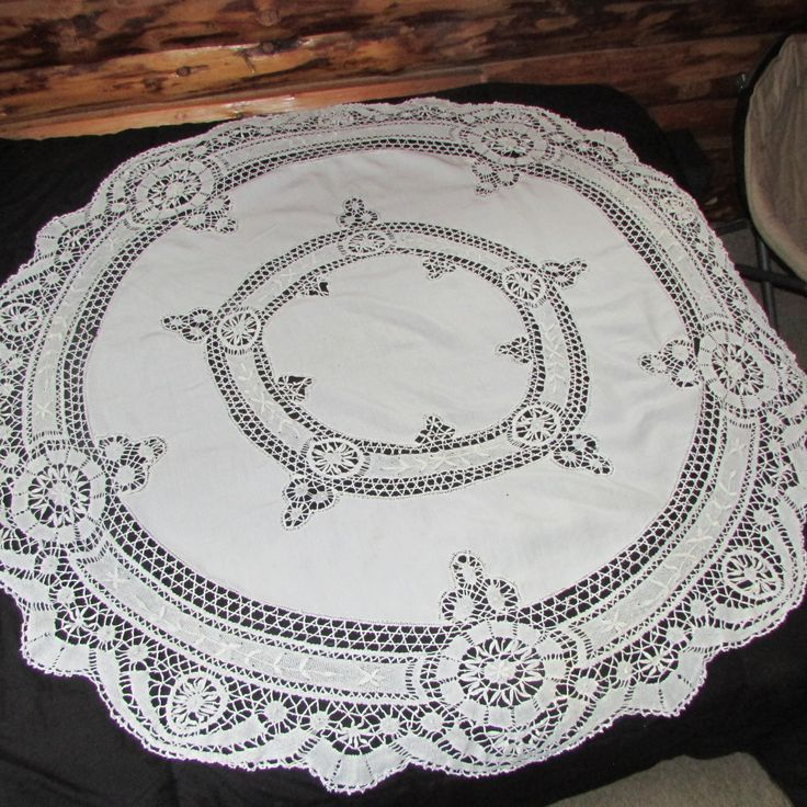 "Victorian Battenburg Lace Tablecloth 5"" Diameter Round White Cotton Vintage Linens Dining Room Tablecloth by LadysSlipperVintage on Etsy"