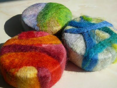 Shows you how to make wool covered soap use as a washcloth rub this on your skin…