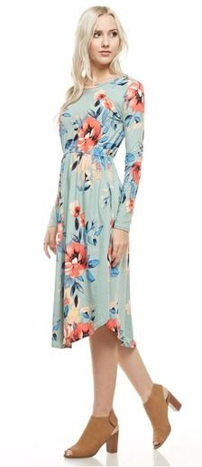 Check out this cute floral midi length round hem pocket dress! It features a soft material, 95% polyester 5% spandex, and is so comfortable, modest and stylish!