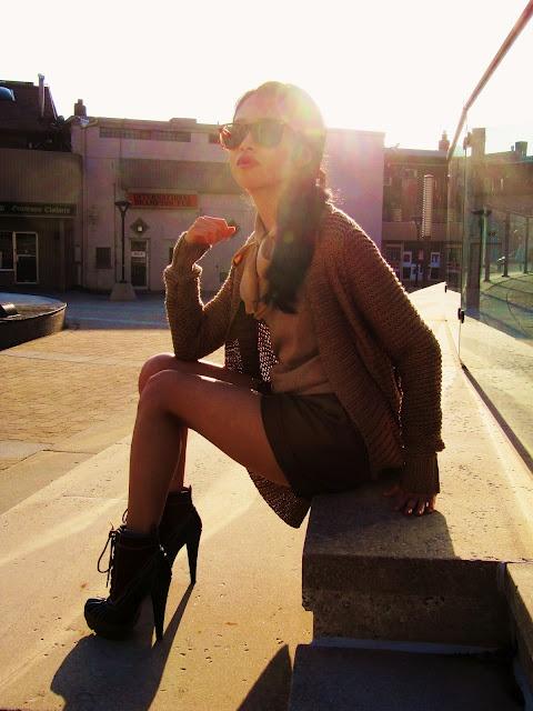 budget brunettes, beige, gold cardigan, rain boot heels
