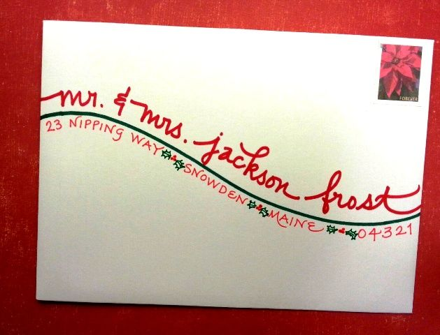 """Shoreline"" writing style in festive green & red---with holly berries & leaves.  Calligraphy by Carrie."