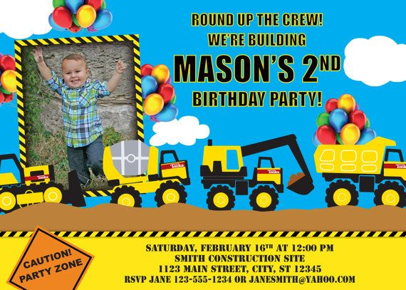 495 best images about construction party on pinterest, Birthday invitations