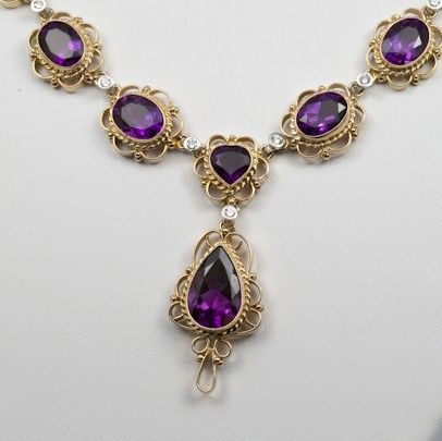Amethyst Diamond and 14K Gold Filigree Necklace by FernandoJewelry, $4875.00