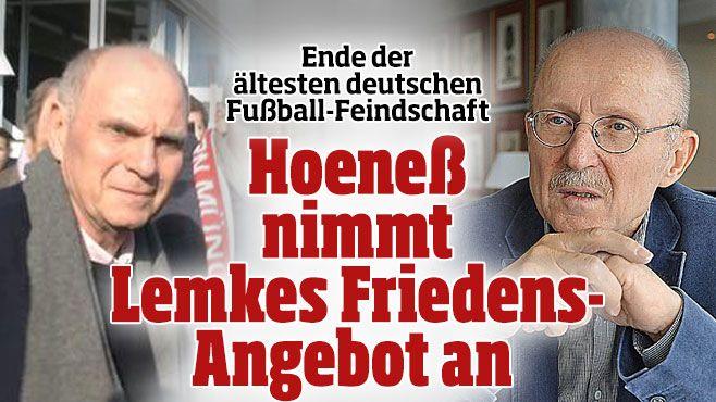 Über viele Jahre kultivierten sie ihren Streit: Uli Hoeneß und Willi Lemke. Nun kehrt Ruhe ein - Versöhnung der Erzfeinde Lemke und Hoeneß - Hoeneß nimmt Lemkes Friedens-Angebot an http://www.bild.de/sport/fussball/uli-hoeness/nimmt-friedensangebot-an-39764806.bild.html