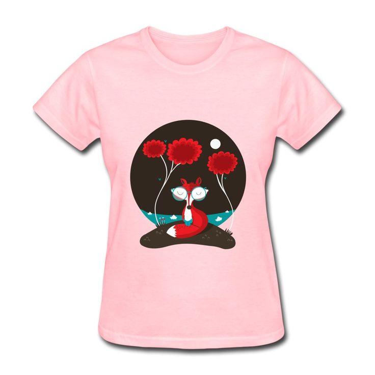 O- ネックtシャツの女性かわいい赤い狐が自身を楽しんでい読みプリント100%コットンのtシャツ女性のための