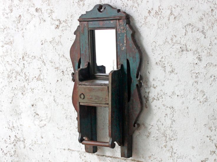 An impressive shabby chic rustic wall mirror with a superb distressed painted surface, hand carved ornate frame and modest storage area. #vintage #mirror #unique #furniture #homedecor #homestyle